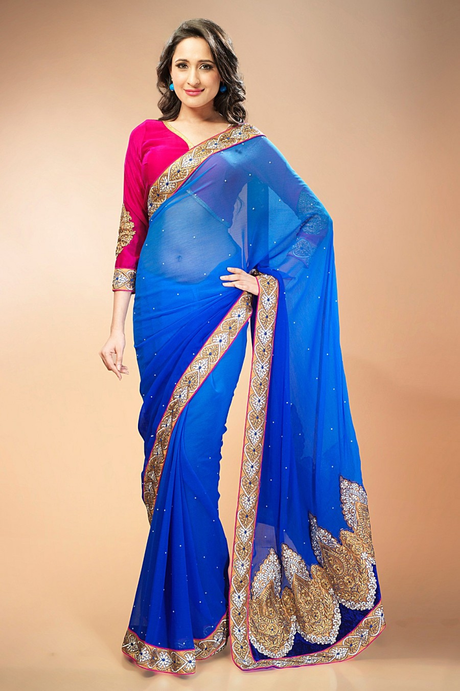 Buy Blue Chiffon Shaded Saree with Pink Velvet Blouse Piece Online