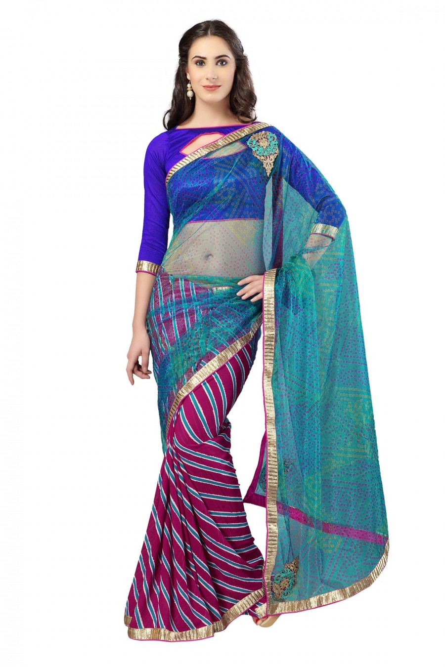 Buy Magenta and Blue Georgette Saree with Blue Dupioni Blouse Piece Online