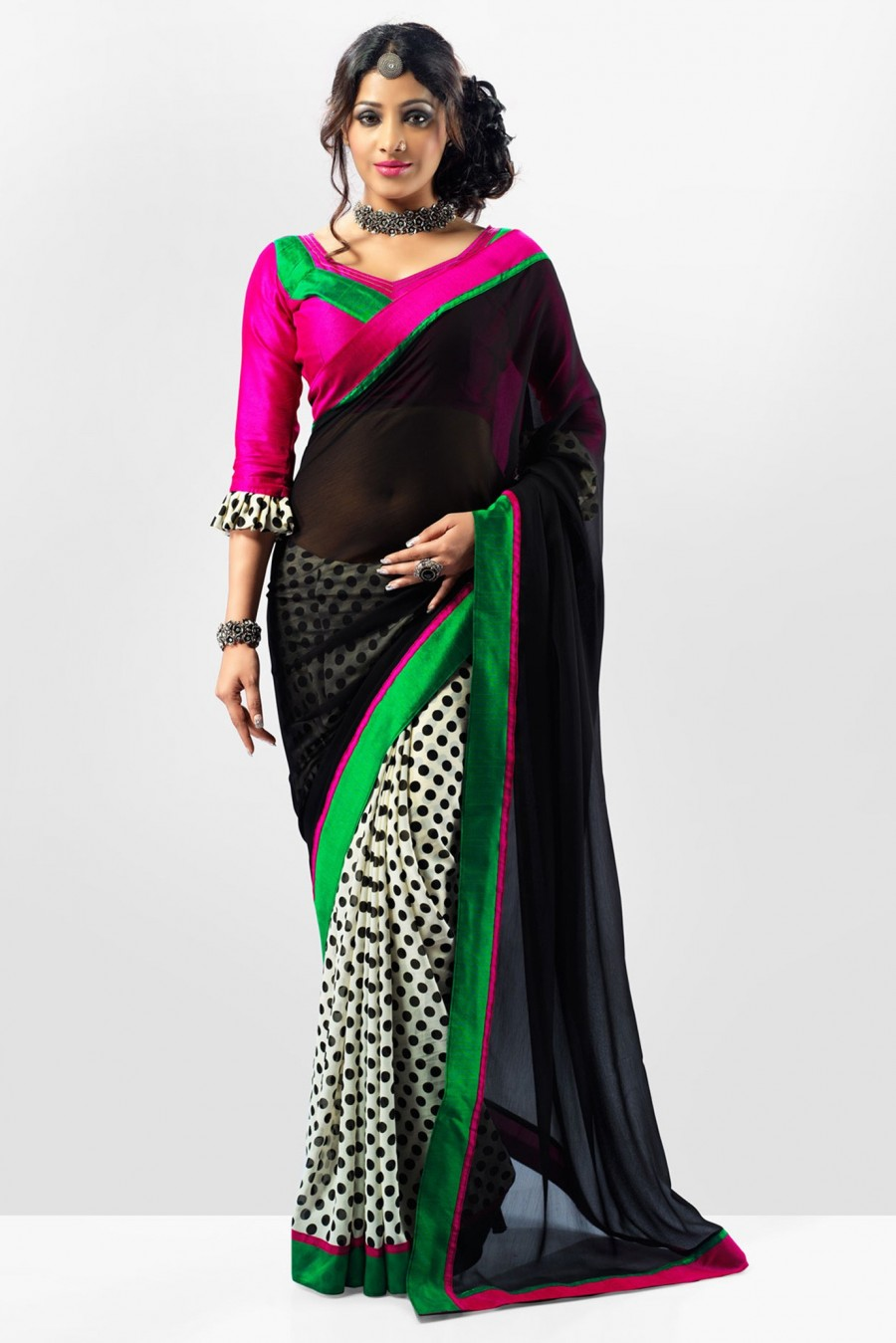 Buy Black and White Half and Half Designer Saree Made of Georgette Fabric Online