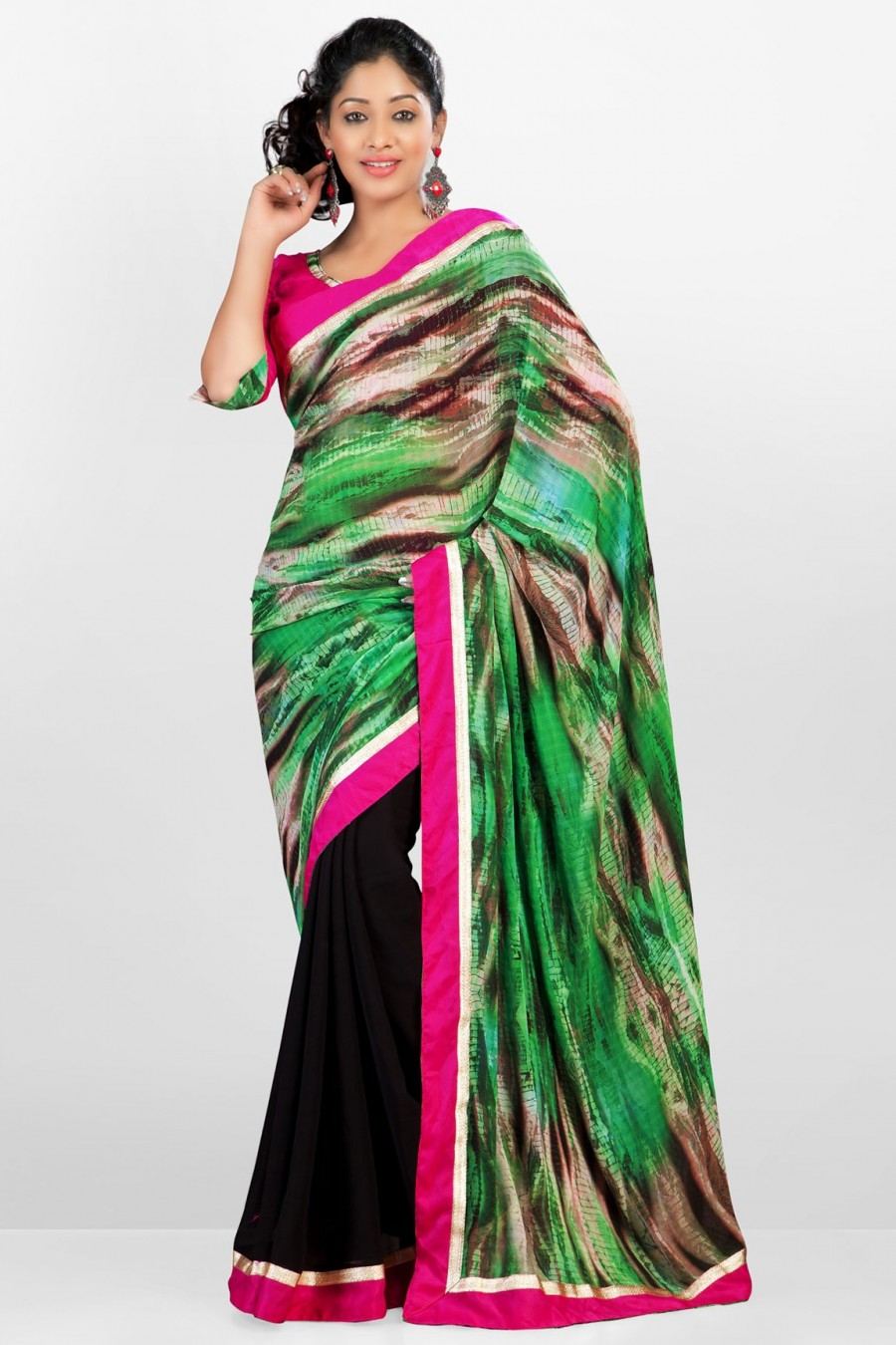 Buy Black and Green Georgette Half and Half Saree Decorated with Border Work Online