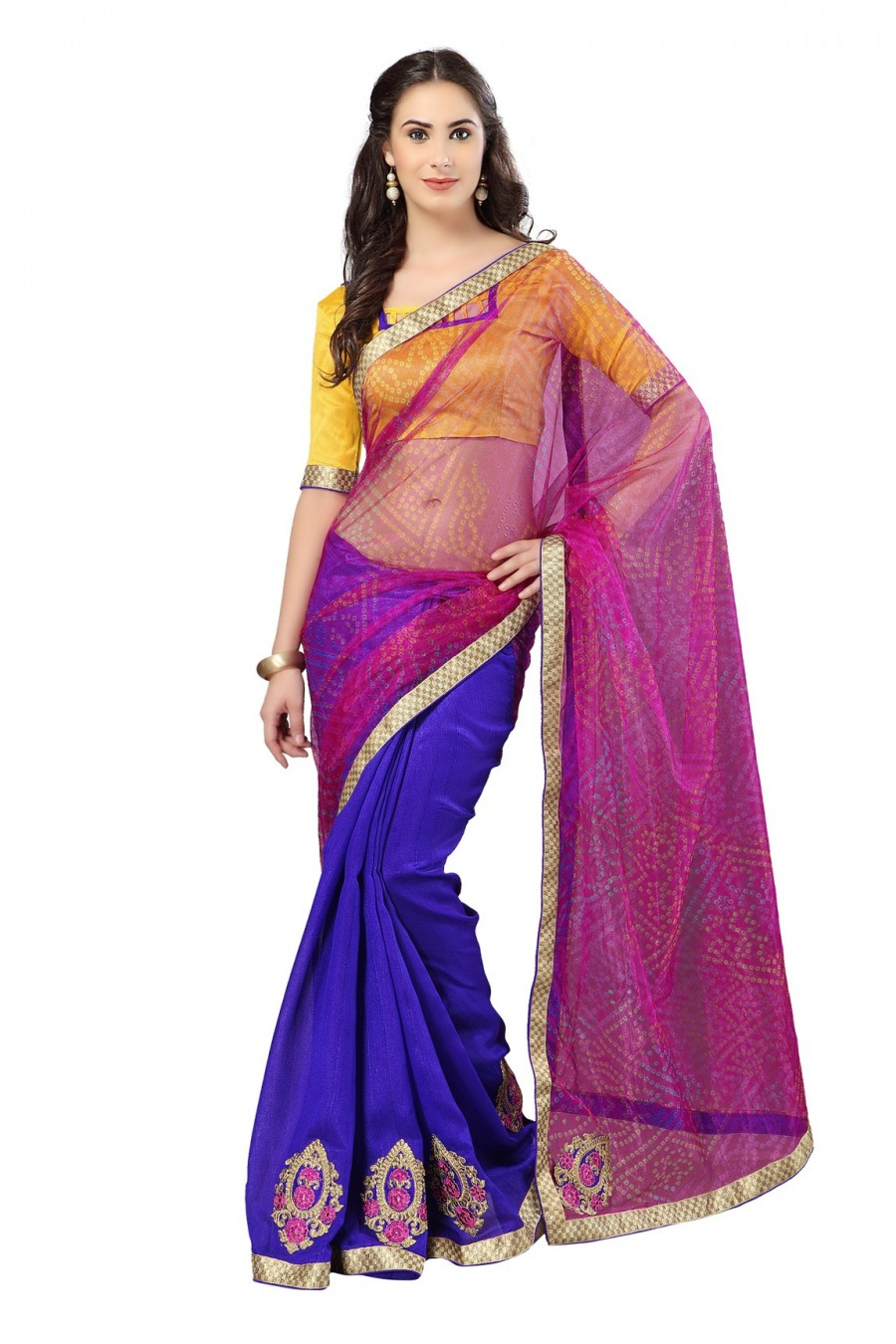 Buy Blue and Pink Half N Half Saree with Yellow Blouse Piece Online