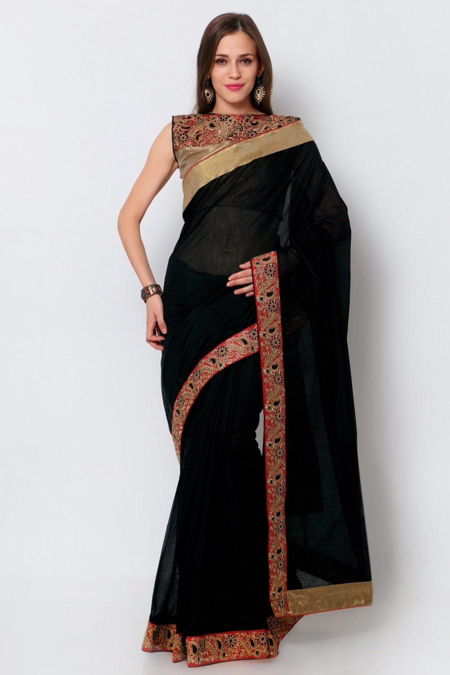 Buy Black Chanderi Lace Border Saree with Blouse Piece Online