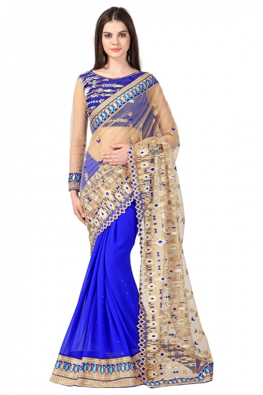 Buy Blue and Beige Net Georgette Half N Half Saree with Embroidered Blouse Piece Online