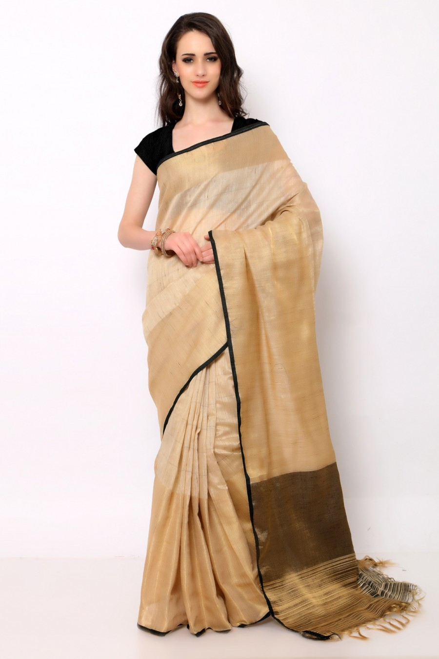 7ebd3dc90a Buy Online|Beige and Black Khadi Silk Saree with Blouse Piece | 504530