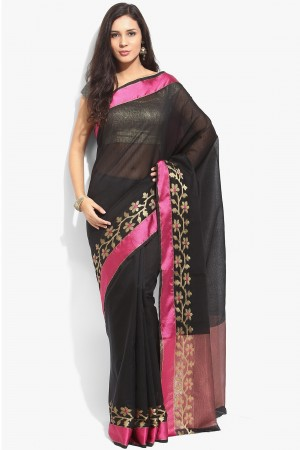 Buy Black Kota Cotton Saree with Zari Border Saree with Black Blouse Piece  Online