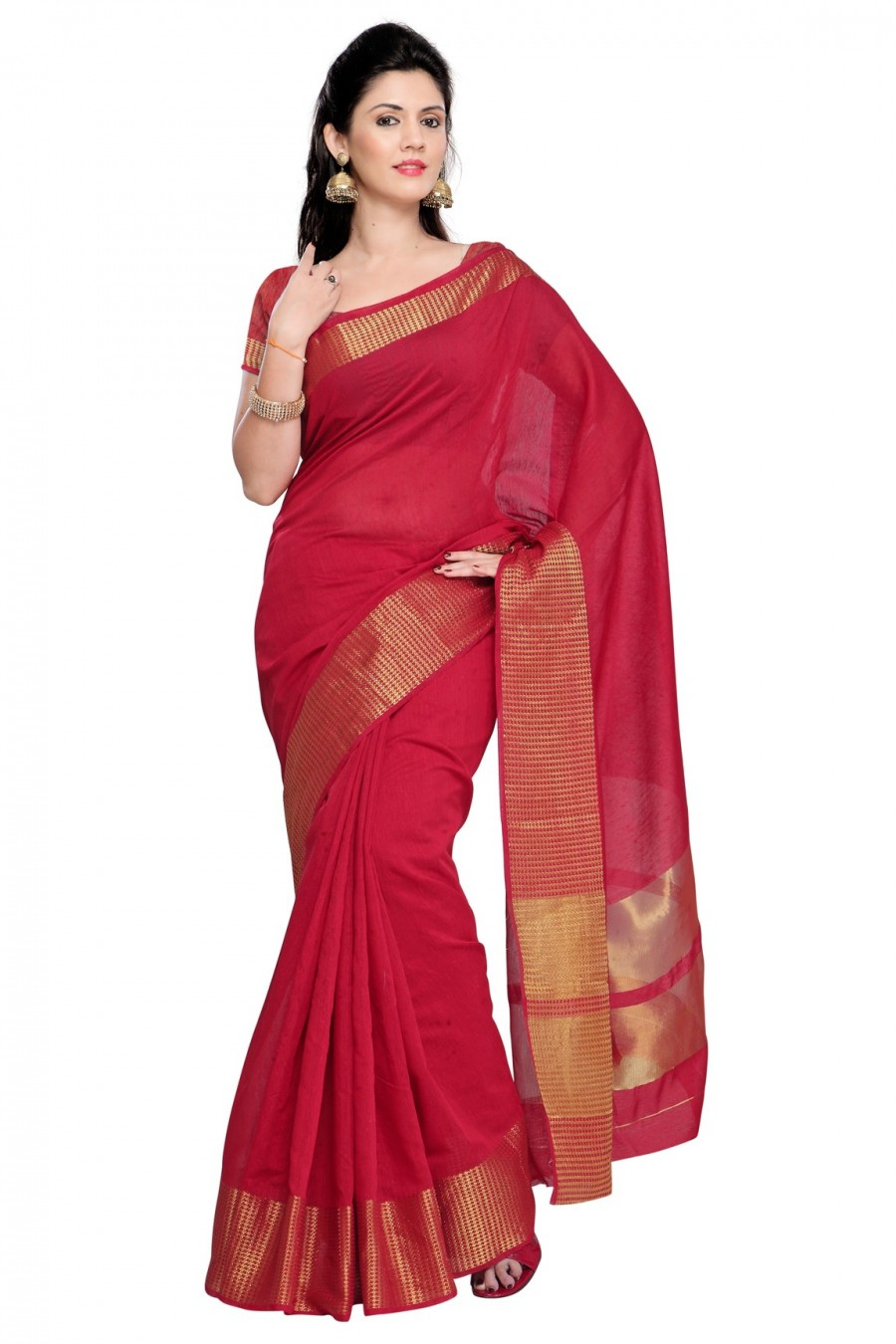 Buy Red Cotton Silk Zari Border Saree with Cotton Silk Blouse Piece Online