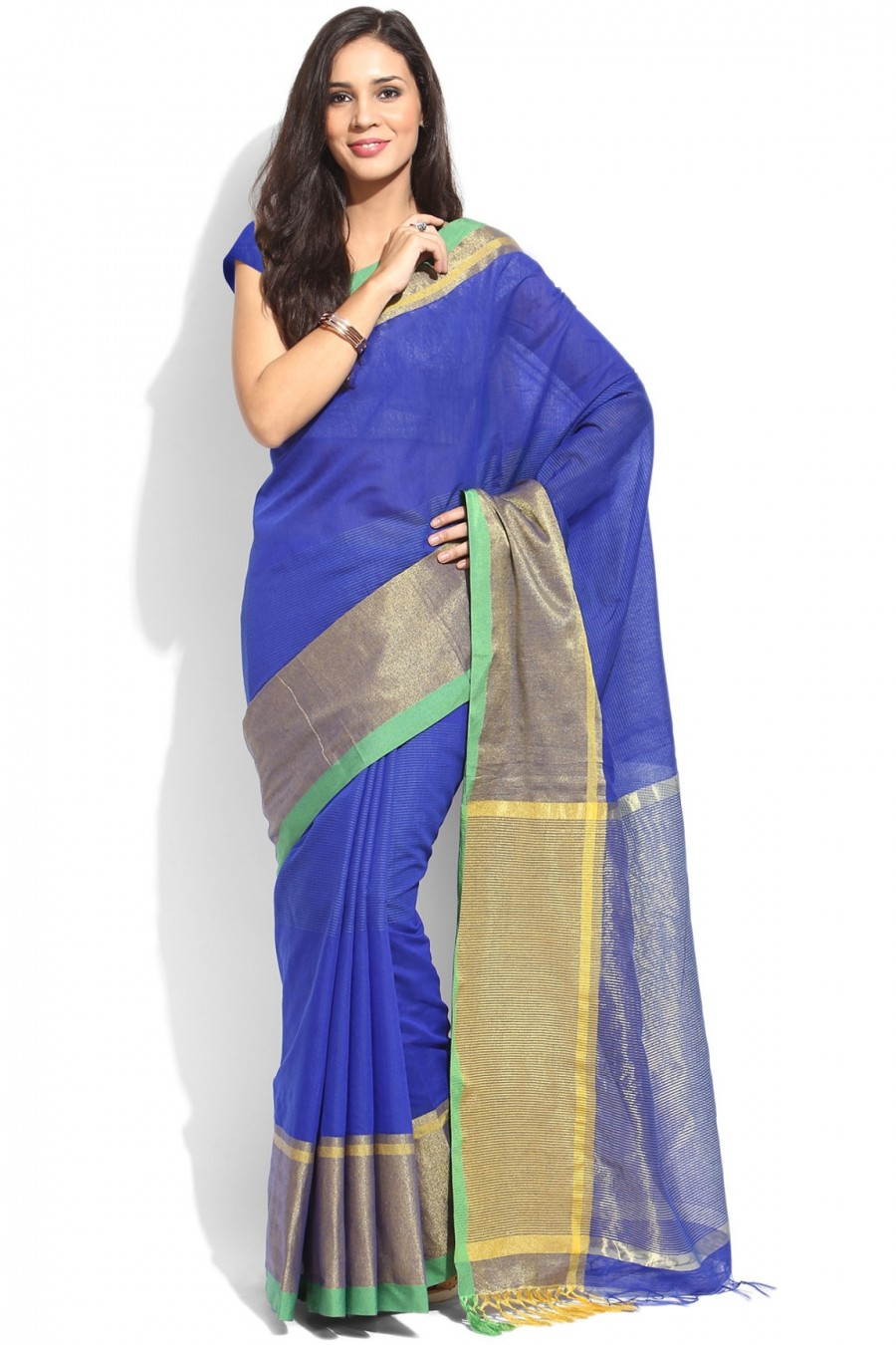Buy Blue Chanderi Cotton Zari Border Saree with Blouse Piece Online
