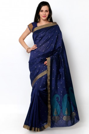 Buy Dark Blue Tussar Silk Saree with Blouse Piece Online