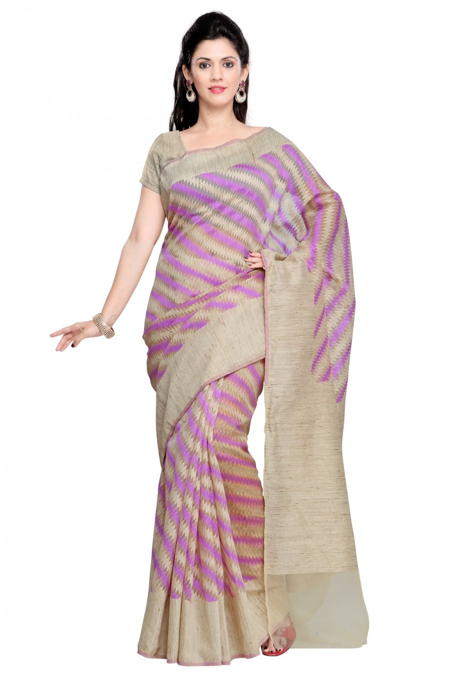 38db4f8a9ca Buy Beige and Pink Cotton and Khadi Silk Saree with Khadi Silk Blouse Piece  Online