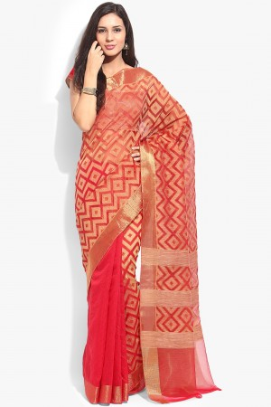 Buy Red Kota Silk Zari Work Saree with Kota Silk Blouse Piece Online