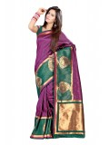 Magenta and Green Saree with Green Blouse Piece