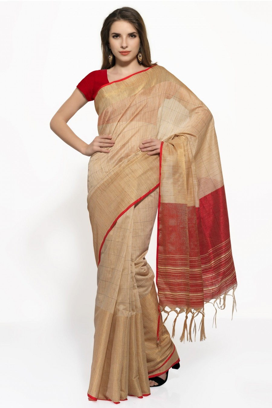 Buy Beige and Red Khadi Saree with Red Blouse Piece Online