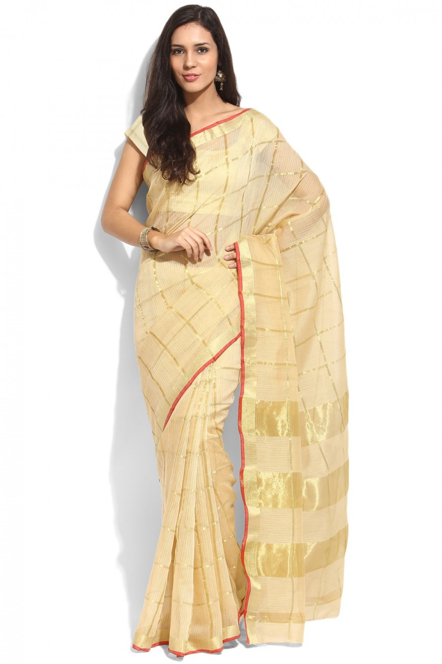 Buy Golden Kota Silk Saree with Kota Silk Blouse Piece Online