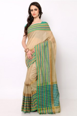 Buy Beige Cotton Silk Saree with Blouse Piece Online