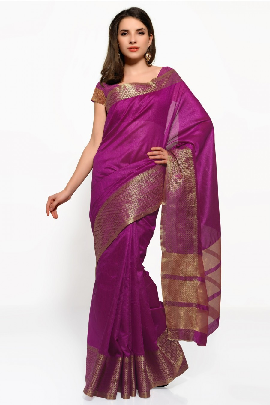 Buy Purple Tussar Silk Saree with Blouse Piece Online