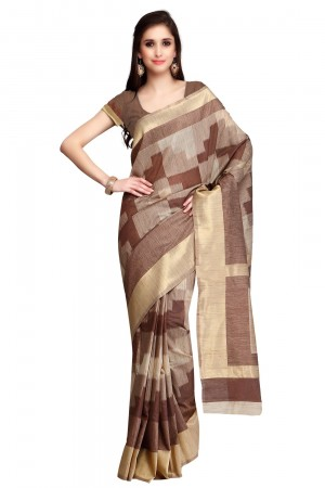 Buy Brown Chanderi Woven Saree with Blouse Piece Online