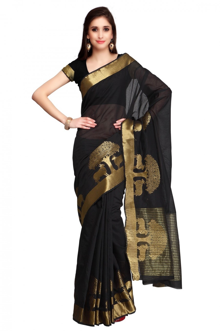 Buy Black Chanderi Saree with Black Blouse Piece Online