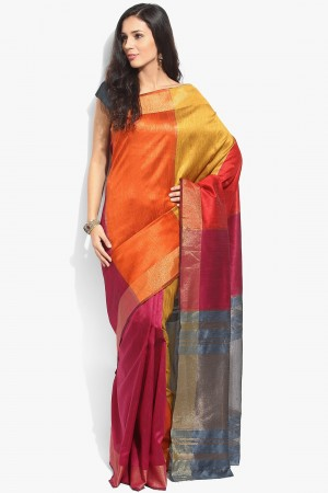 Buy Multicolour Tussar Silk Saree with Grey Tussar Silk Blouse Piece Online