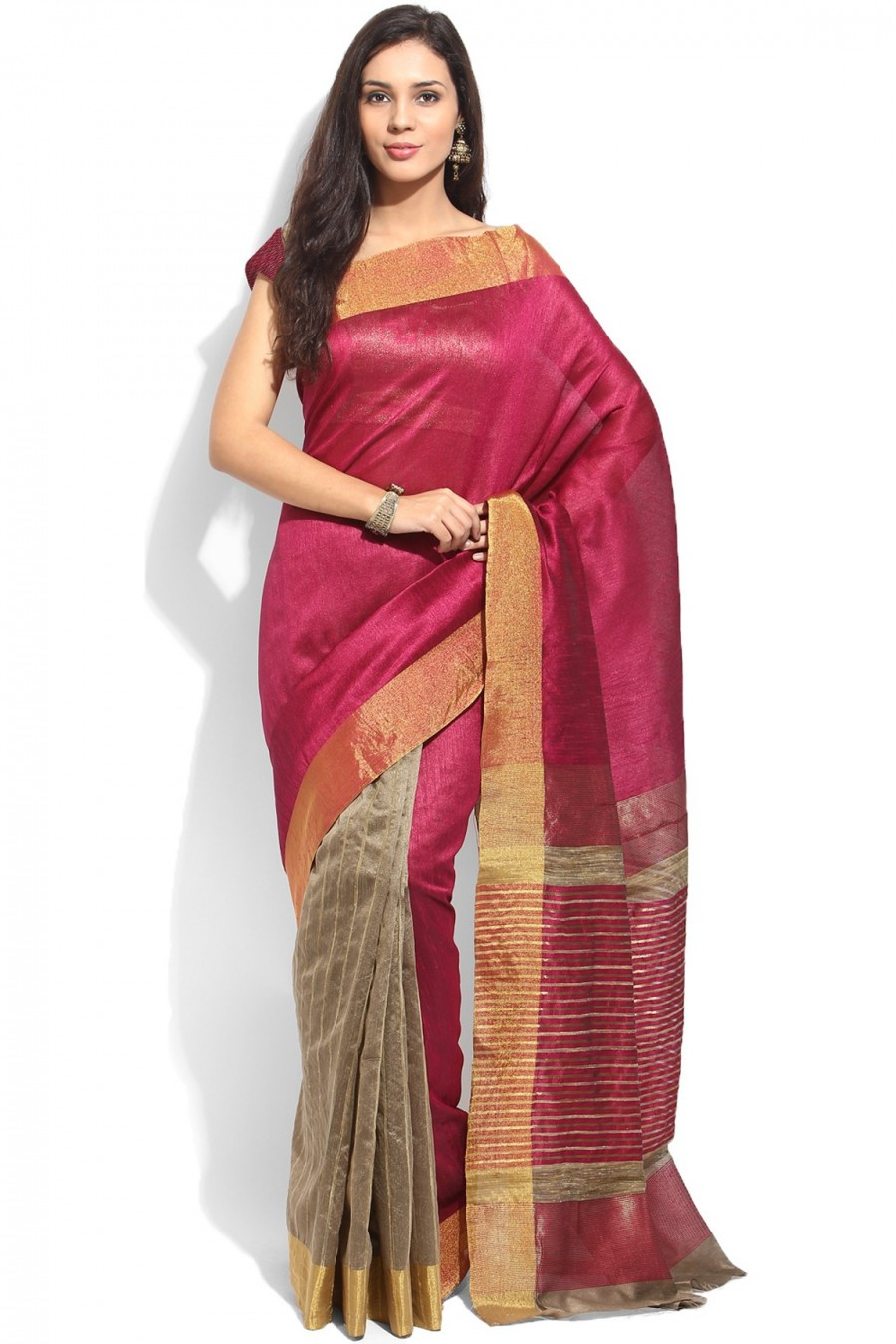Buy Magenta and Golden Tussar Silk Zari Border Saree with Blouse Piece Online