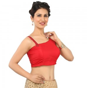 Buy STUNNING RED BLOUSE WITH ONE SIDE STRAP AND ANOTHER NORMAL SLEEVELESS, BENGAL SILK WITH PADDED AND SIDE OPENING Online