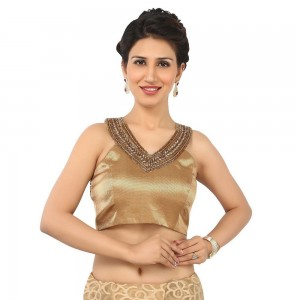 Buy A DULL GOLD BLOUSE WITH AN V NECK PATTERN IN SLEEVELESS, DELICATE KUNDAN AND ZARDOZI, PADDED WITH SIDE OPENING Online