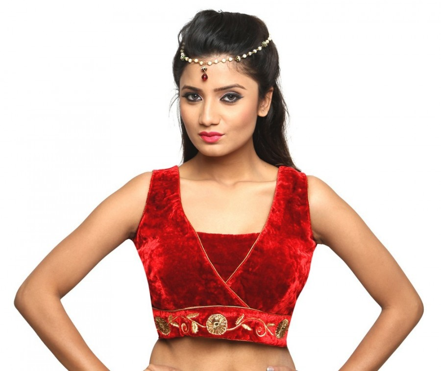Buy ROYAL RED BLOUSE IN VELVET WITH A WIDE V NECK, SLEEVELESS WITH GOTA FLOWER EMBROIDERY, PADDED WITH A SIDE OPENING Online