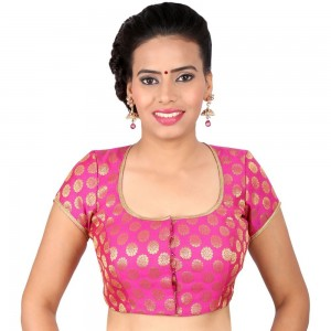 aa5dee0aff1d0a Buy PRETTY PINK BLOUSE WITH GOLD WORK IN A DEEP SQUARE NECK IN BROCADE, NON