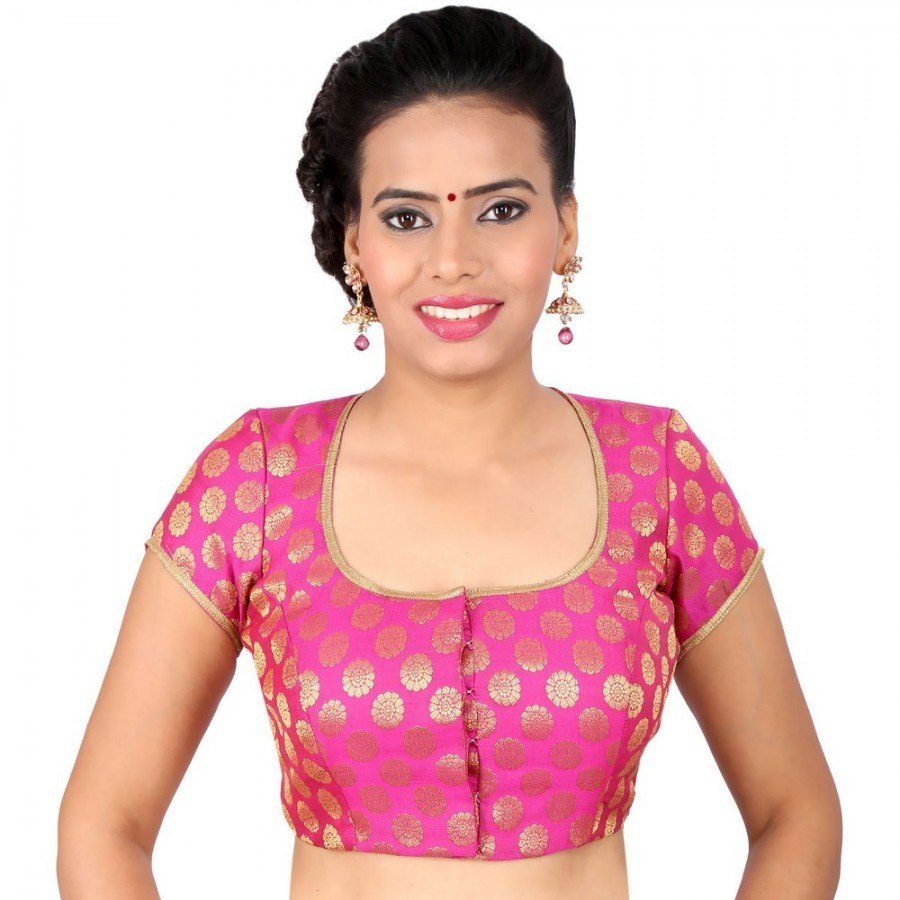 Buy PRETTY PINK BLOUSE WITH GOLD WORK IN A DEEP SQUARE NECK IN BROCADE, NON-PADDED WITH FRONT OPENING Online