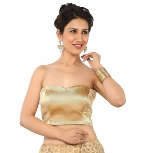 Buy STUNNING GOLD TUBE BLOUSE IN TISSUE MATERIAL ,NON- PADDED WITH BACK OPENING Online