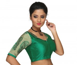 Buy GREEN STUNNING COLLARED ,V NECK AND HALF SLEEVED PATTERNED NON- PADDED BLOUSE Online