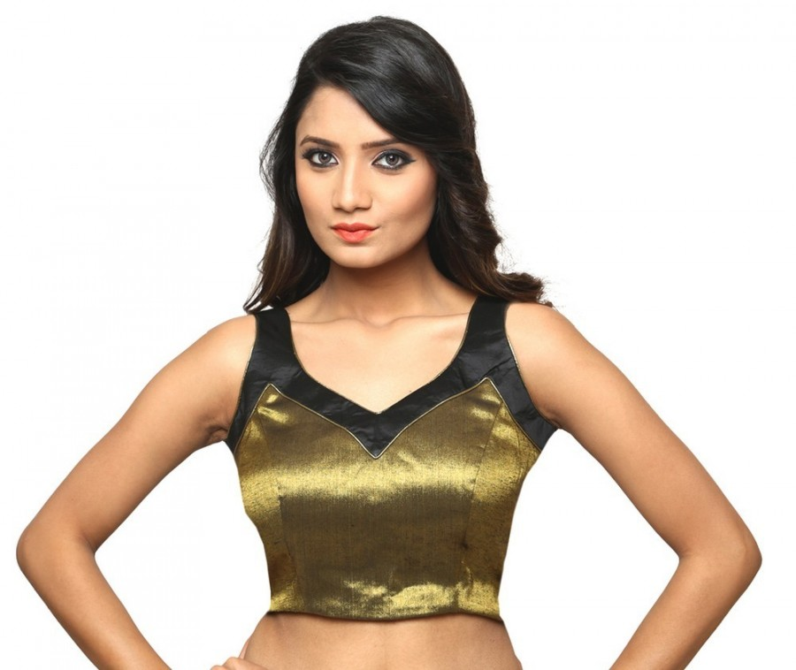 Buy BEAUTIFUL GOLD AND BLACK ROUNDED V NECK SLEEVELESS BLOUSE WITH BLACK LINING IN BENGAL SILK AND TISSUE, PADDED AND SIDE OPENING Online