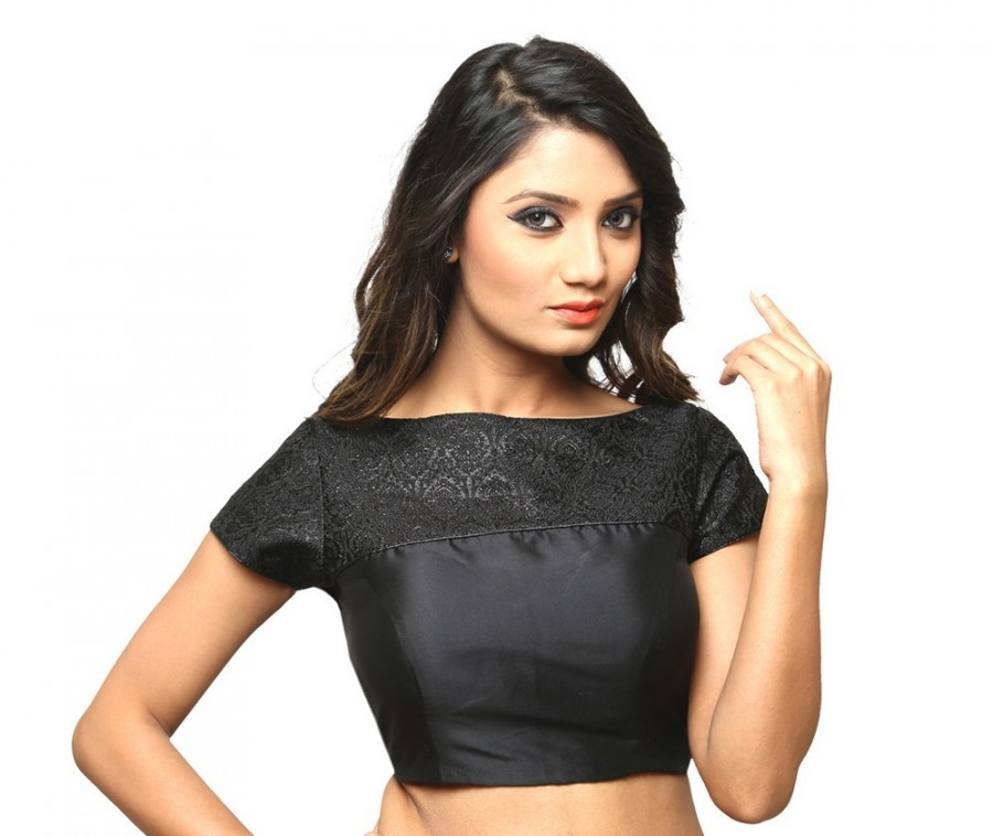 Buy CHIC BLACK BOAT NECK MEGA SLEEVES IN BROCADE AND BENGAL SILK MATERIAL, NON PADDED AND SIDE OPENING Online