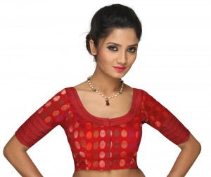 Buy TIMELESS MAROON ROUND NECKED SAREE WITH HALF SLEEVES, IN COTTON HANDLOOM, IN NON-PADDED WITH A FRONT OPENING Online