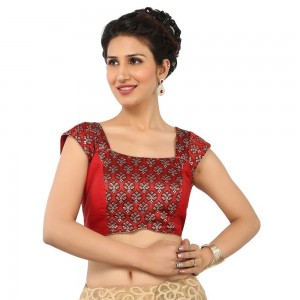Buy EXTREMELY TRADITIONAL AND HIGH FASHION RED BLOUSE WITH SQUARE NECK AND BROCADE AND BENGAL SILK , PADDED WITH BACK OPENING Online