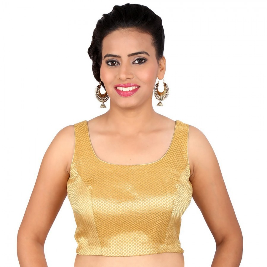 Buy SIMPLE GOLD U NECK SLEEVELESS BLOUSE IN BROCADE, NON- PADDED WITH BACK OPENING Online