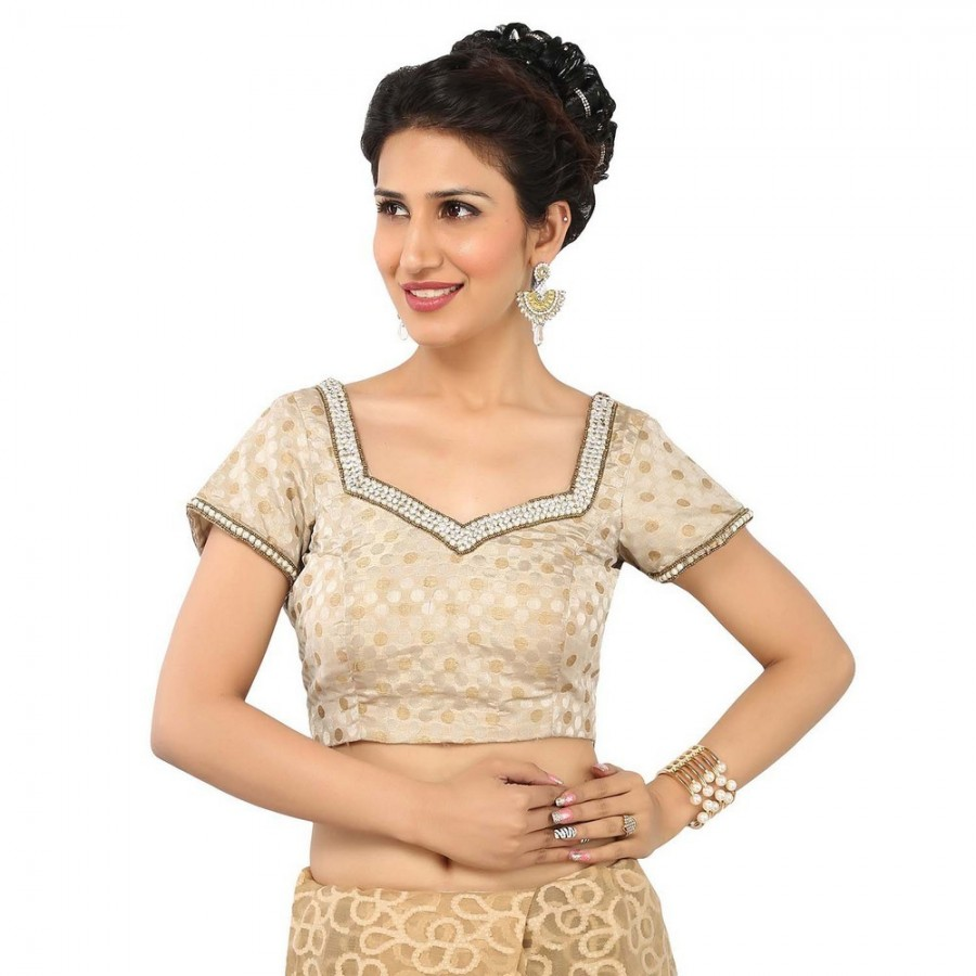 Buy FASHIONABLE GOLD AND SILVER BLOUSE IN SWEETHEART NECK & SHORT SLEEVES, BROCADE IN PADDED AND SIDE OPENING Online