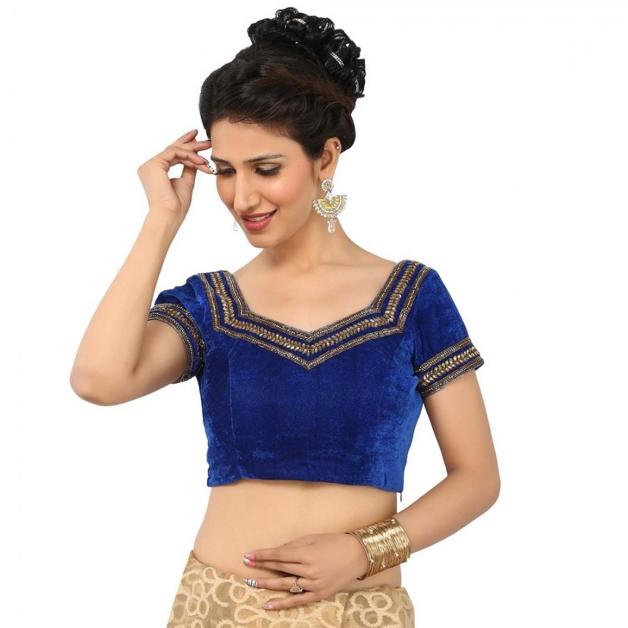 Buy MESMERIZING ELECTRIC BLUE BLOUSE, SWEETHEART NECK HALF SLEEVES IN SMOOTH VELVET, PADDED WITH SIDE OPENING Online