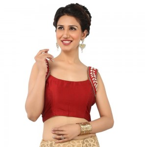 Buy EXCELLENT DEEP RED BLOUSE WITH SQUARE NECK AND SLEEVELESS IN A PEARL WORK IN BENGAL SILK, NONPADDED WITH SIDE OPENING Online