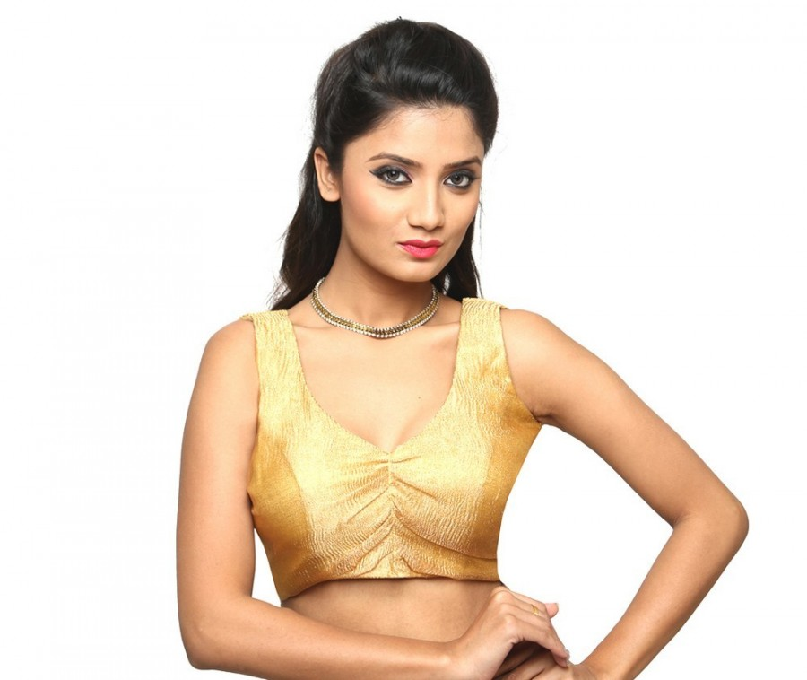 Buy PRETTY GOLD BLOUSE WITH A DEEP V NECKLINE, SLEEVELESS, IN CRUSHED TISSUE, NON-PADDED BLOUSE WITH A SIDE OPENING Online