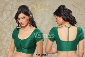 Buy PLAIN DUPIAN SILK READY MADE STITCHED PADDED BLOUSE WITH BEAD LACE Online
