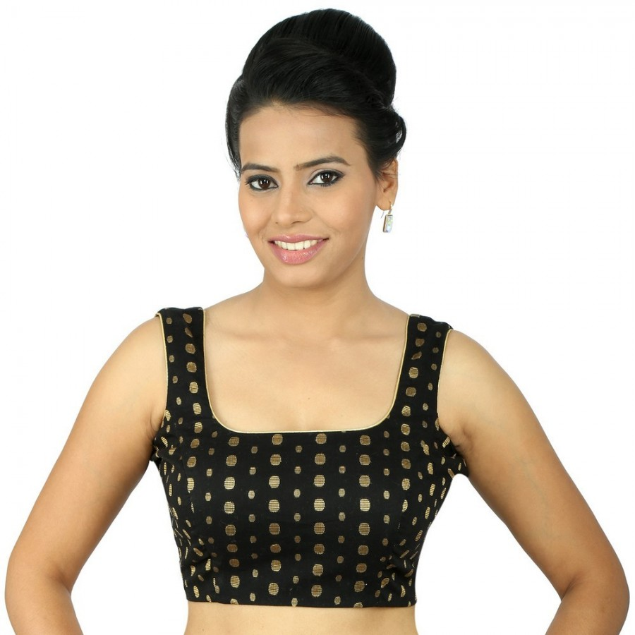 Buy PRETTY BLACK SQUARE NECK BLOUSE WITH STRAP SLEEVE IN GOLD POLKA DOTS IN COTTON BASED MATERIAL, PADDED WITH SIDE OPENING Online