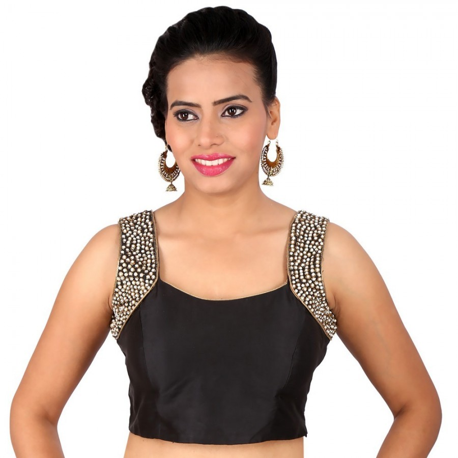 Buy COOL BLACK BENGAL SILK BLOUSE WITH BEADED ARM ROUND. PADDED WITH SIDE OPENING Online