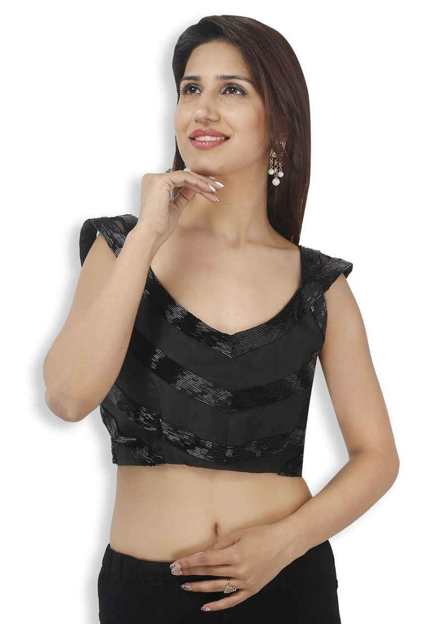Buy CLASSY BLACK LOW CUT SLEEVELESS BLOUSE IN SMOOTH BENGAL SILK, FULLY EMBROIDERED, NON-PADDED WITH SIDE OPENING Online