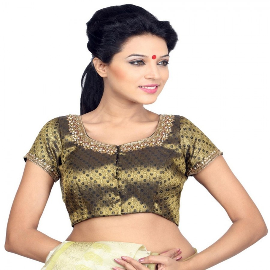 Buy LUSTROUS GOLDEN BLACK BLOUSE WITH A HAND WORK ROUND NECK, IN BROCADE, PADDED WITH A FRONT OPENING Online