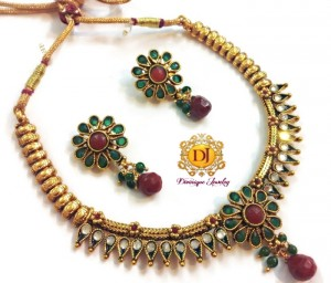 Buy Divinique Jewellery Enticing Golden & Red Necklace Set  Online