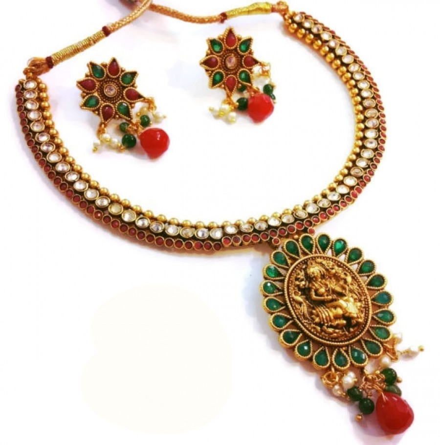 Buy Real Kemp studded lakshmiji temple set ma roon n green Online