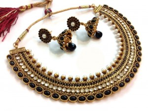 Buy Grand Black pearl polki necklace set Online