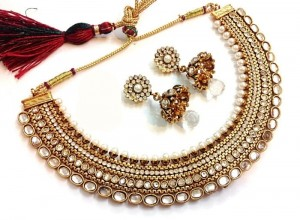 Buy Grand Kundan Pearl Polki necklace set Online