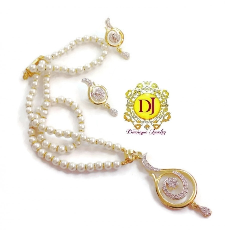 Buy AD pendent set in pearls 1 Online