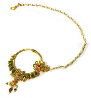 Buy Bridal Nose Ring With Kundan And Cubic Zirconia Online